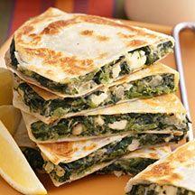 WW spinach feta quesadillas | WW Recipes | Pinterest