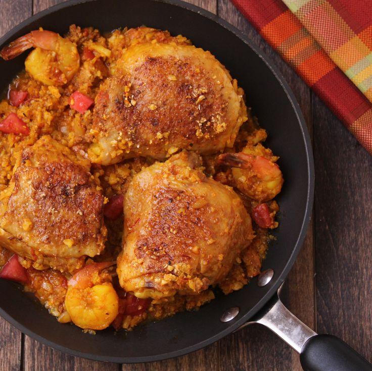 Paleo Paella with chicken and chorizo. Made with cauliflower rice.