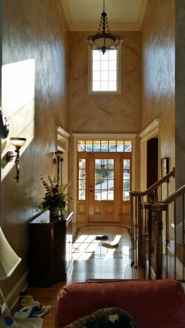 Sherwin Williams Venetian Plaster faux finish with glaze in a grand ...