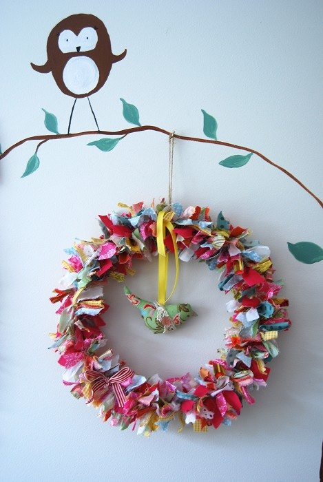 .fabric wreath for any time of year