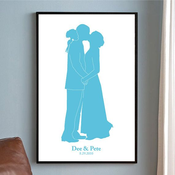 Wedding Gifts For Couples Over 50 : Personalized Wedding Gift, Couples Name Print, Couples Silhouette