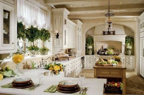 Country french kitchen home pinterest for French country kitchen white cabinets