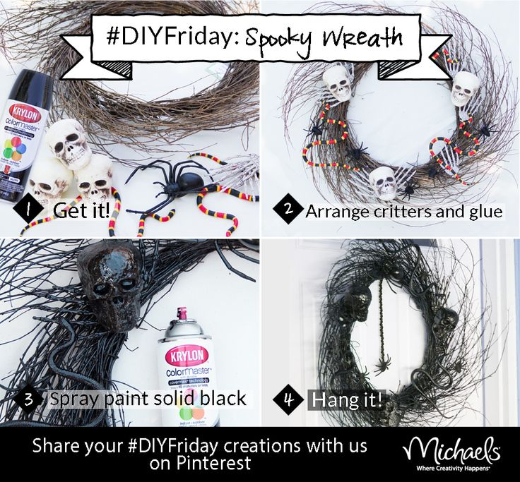DIYFriday Spooky Wreath Materials: Twig wreath, black Krylon spray paint,  Foam skulls, plastic spiders, snakes, skeleton hands, and hot glue.