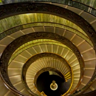 Double helix chariot ramp inside the Vatican. Italy.