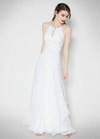 Long Chiffon Dress with Keyhole Detail, Style EJ4M6307 #davidsbridal #weddingdress #summerweddings