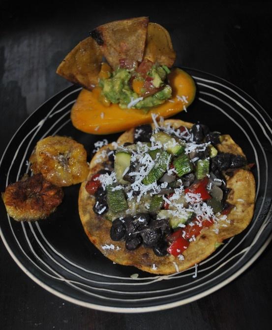 Black bean vegetable tostada with queso fresco, Mango guacamole with ...