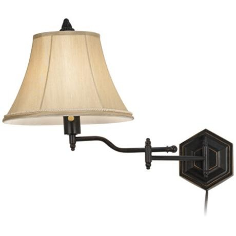 hexagon swing arm plug in wall lamp. Black Bedroom Furniture Sets. Home Design Ideas