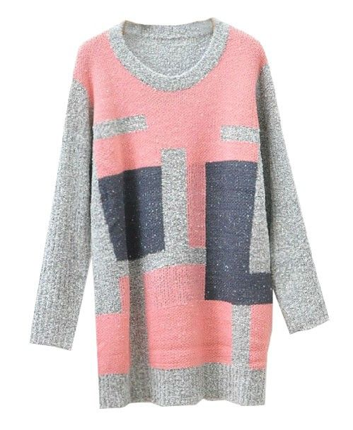 Color Block Round Neckline Pullover - Dress - Pullover - Knitwear - Clothing