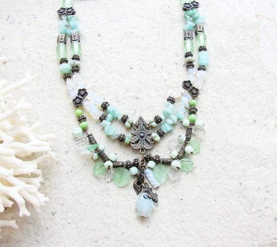 Mint Tea Necklace  Glass Brass Peridot and Quartz by StaroftheEast, $94.00