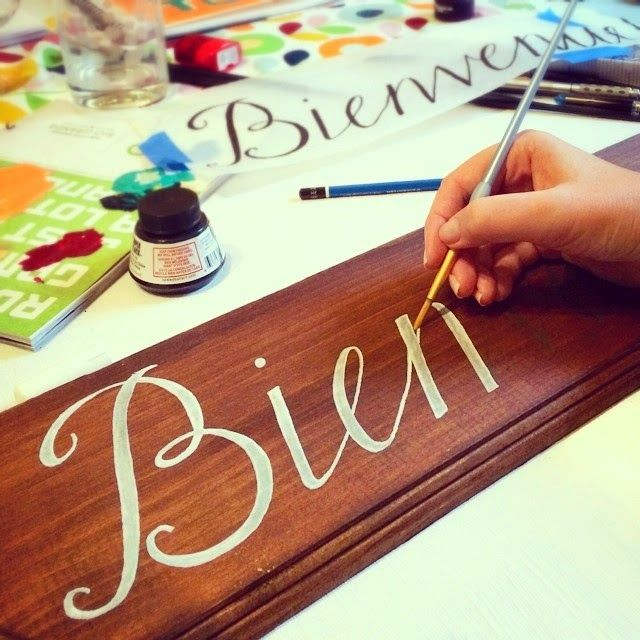 ... DIY Wedding Welcome sign in French with Calligraphy hand lettering