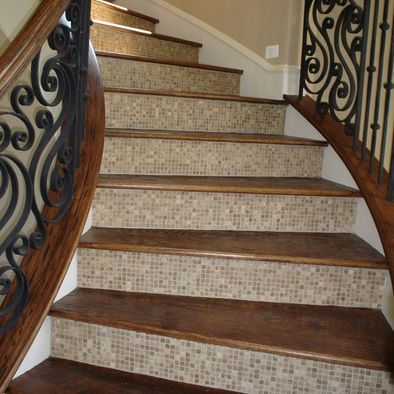 Wood plank and mosaic tile stairs house decor - Stairs with tile and wood ...