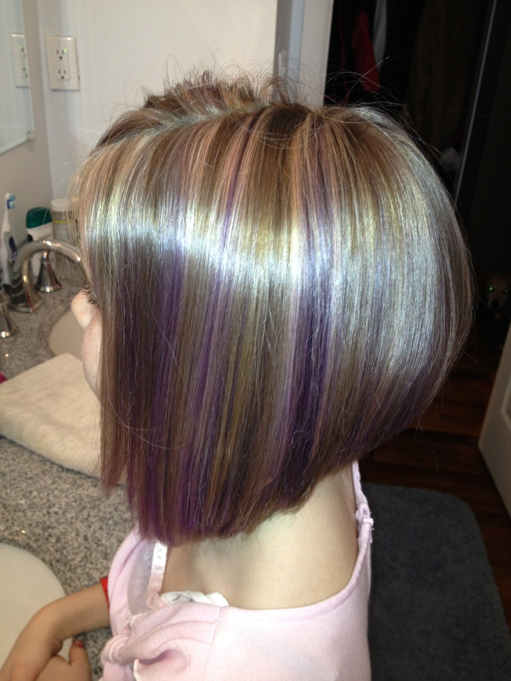 Purple lowlights, highlights and inverted bob. Maybe just a little ...