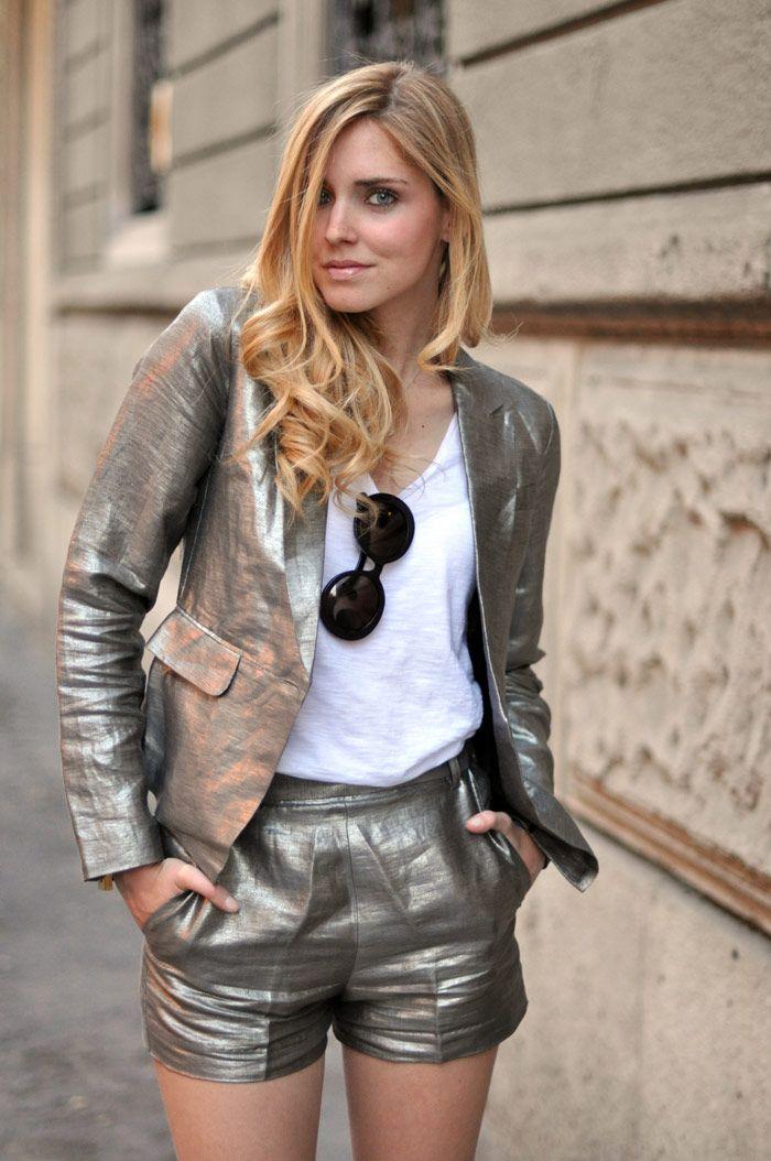 Metallic short suit, win #fashion