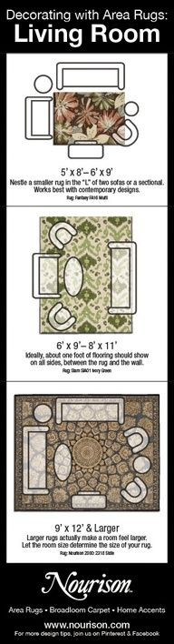 What Size Area Rug do you Need for Your Living Room? Part of Nourisons Decorating with Area Rugs series. For more interior design tips, join us on Facebook and Pinterest.