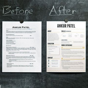 resume - still 1 page, but look at how much more it stands out!  Different Fonts & block shading in light colors