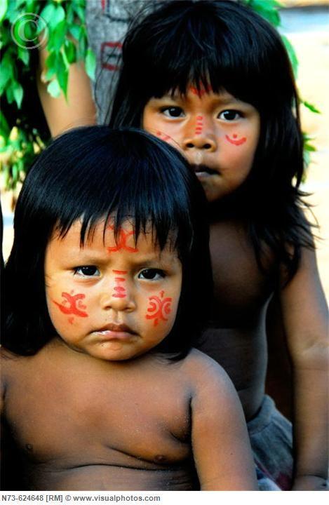 Indigenous Children. Amazon Brazil