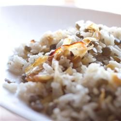 Lentils and Rice with Fried Onions (Mujadarrah), season as desired
