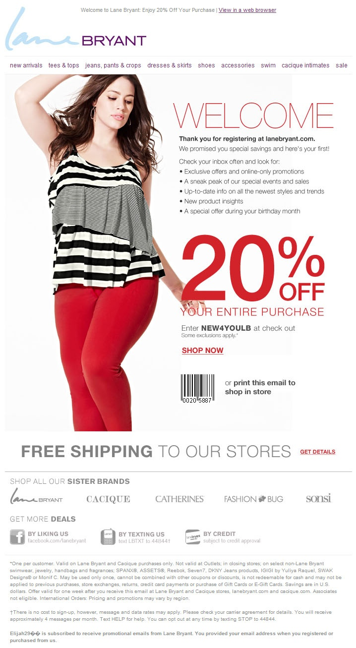 Lane bryant coupons 15 off 50