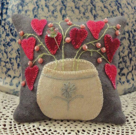 Cute wool applique pincushion