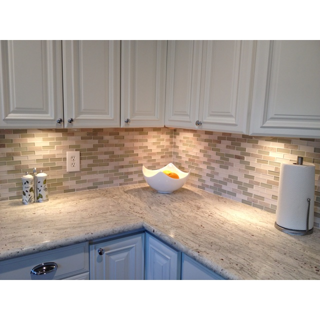 neutral color glass backsplash kitchen pinterest