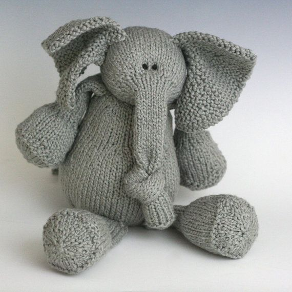 E is for Elephant - PDF Knitting Pattern for a Stuffed Toy ...