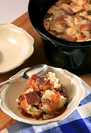 Recipe: White-chocolate bread pudding with whiskey caramel sauce