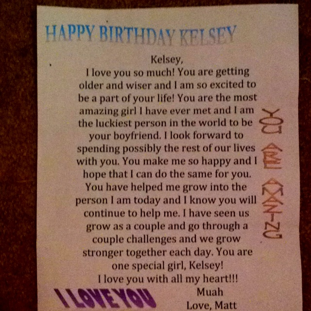 cares. In this letter, my boyfriend wrote sweet words for my birthday ...