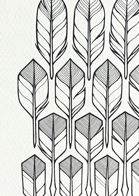 Feather Arrow Drawing Original feathers drawingGeometric Bear Drawing