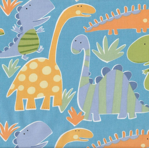 Dinosaurs blue boys kids quilting fabric craft fat quarter for Kids dinosaur fabric