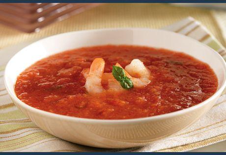 Shrimp, cantaloupe and balsamic vinegarmake this gazpacho deliciously ...