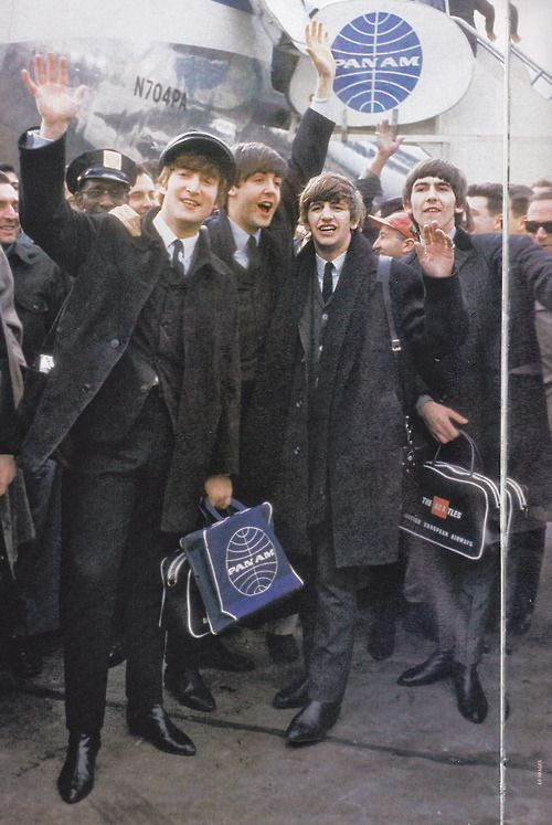 THE INVASION: The Beatles at Kennedy Airport, New York, February 7th, 1964.