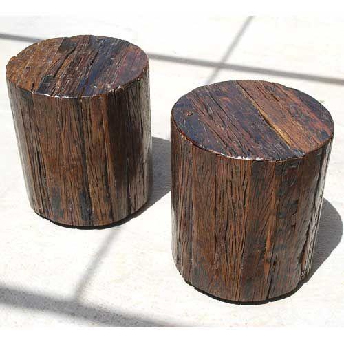 appalachian 2pc tree stump end table stool set. Black Bedroom Furniture Sets. Home Design Ideas