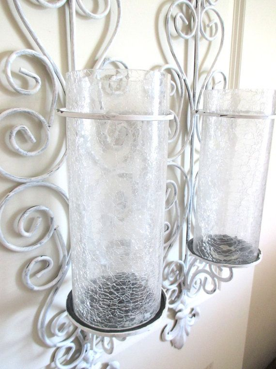 Large Candle holders Metal Wall Sconces Crackle Glass Hurricane Paint?