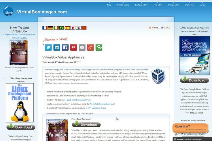 virtualboximages da dove scaricare le appliances per virtualbox