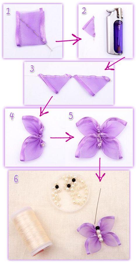 Как сделать бабочку из атласной ленты своими
