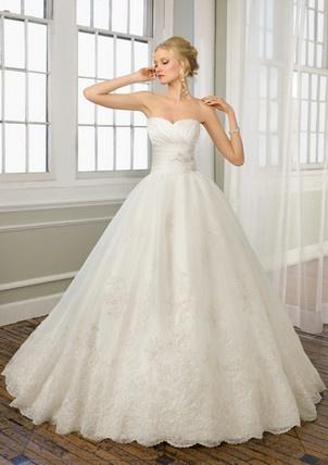 A-Line Chapel Train Sweetheart Empire Waist Pleated Long Satin Ivory Wedding Dresses WD1628 $365.00