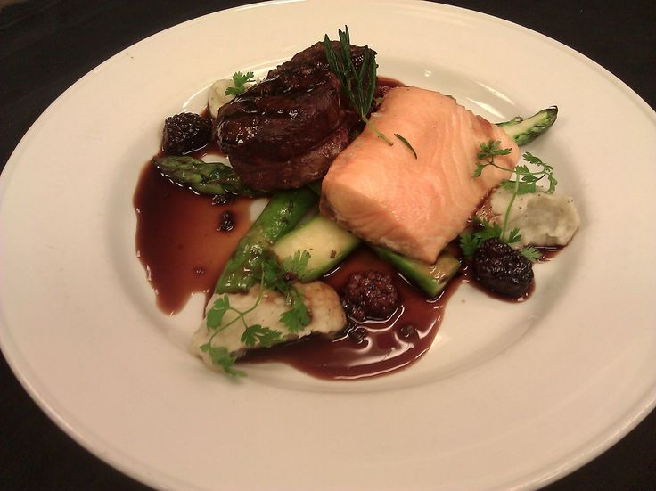 Surf & Turf: Cured Slow-Roasted Salmon Filet, Grilled Beef Tenderloin ...