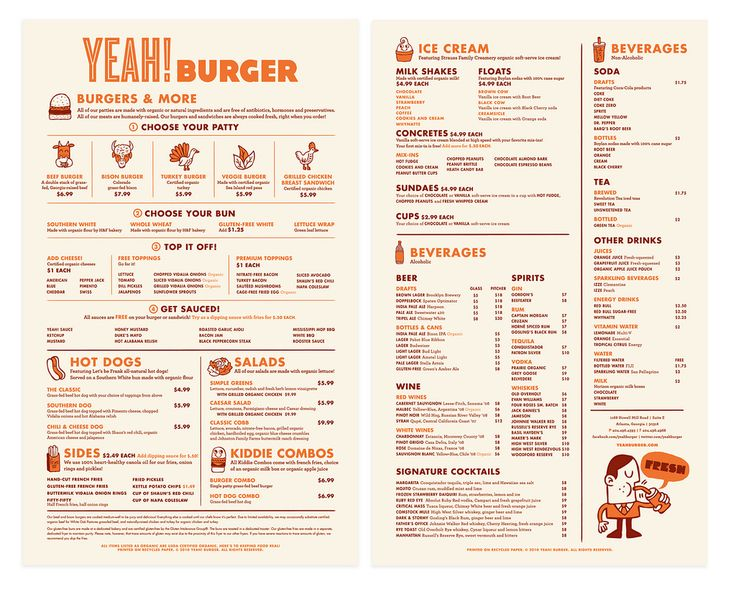 yea burger menu menu design ideas pinterest