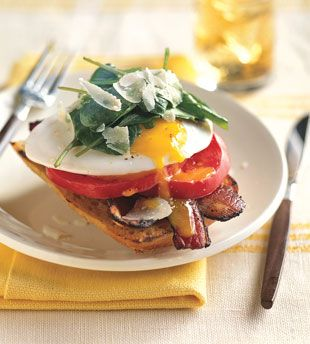 Open-Face Bacon-and-Egg Sandwiches with Arugula | Recipe