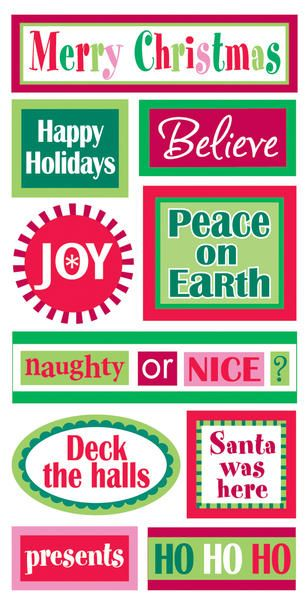 "Essentials Dimensional Stickers, 2.75"" X 6.75"" Sheet - Christmas Words  $1.69"