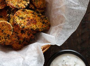 "Oven ""Fried"" Pickles with Skinny Herb Buttermilk Ranch Dip"