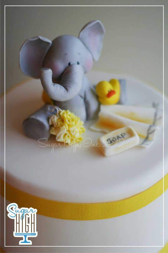 fondant elephant baby shower cake topper accessories