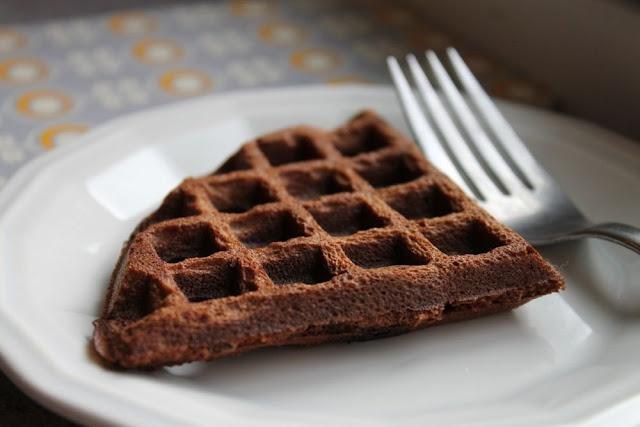 Dark chocolate waffles. Grain and dairy free.