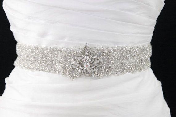 Beaded Crystal Bridal Sash Jeweled Empress by GlamHouse on Etsy, $185.00
