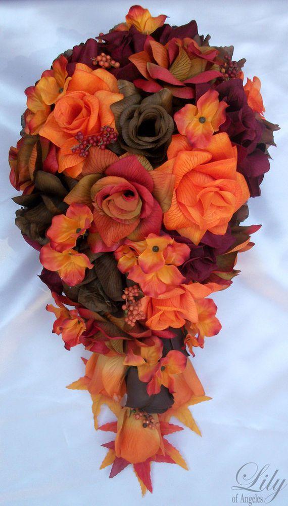 Fall Wedding Bouquets Fake : Pcs package wedding bridal bouquet silk flowers fall