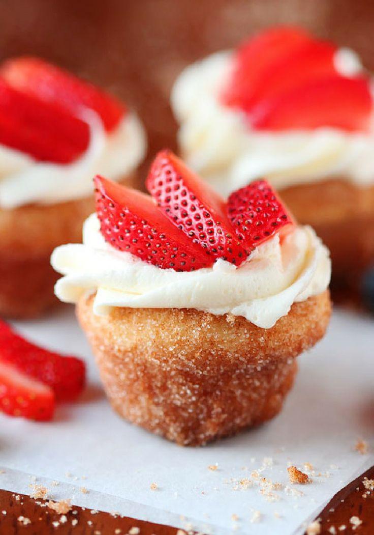 Strawberry shortcake doughnut muffins; a muffin that tastes like a ...