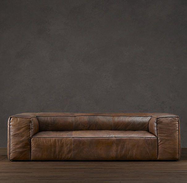 fulham leather sofa contemporary sofas restoration hardware