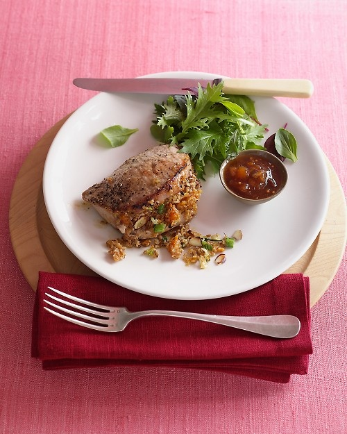 Pork Chops with Bulgur Stuffing   Recipe