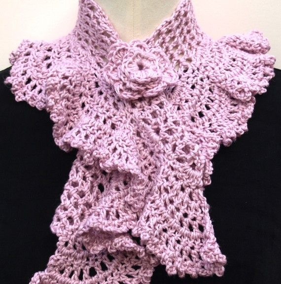 Crochet Queen Annes lace scarf neckwarmer in pink by MolliMade