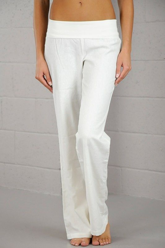 Perfect Uniqlo Women Idlf Cotton Linen Herringbone Pants In White OFF WHITE